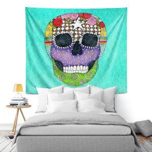 Artistic Wall Tapestry | Marley Ungaro - Sugar Skull Turquoise | Sugar Skull Stylized Childlike Funky
