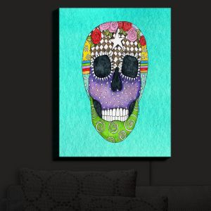 Nightlight Sconce Canvas Light | Marley Ungaro - Sugar Skull Turquoise