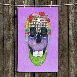 Unique Hanging Tea Towels | Marley Ungaro - Sugar Skull Violet | Sugar Skull Stylized Childlike Funky