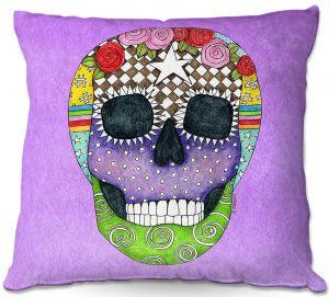 Decorative Outdoor Patio Pillow Cushion | Marley Ungaro - Sugar Skull Violet | Sugar Skull Stylized Childlike Funky