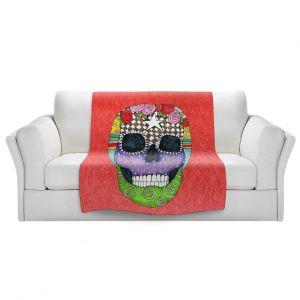Artistic Sherpa Pile Blankets   Marley Ungaro - Sugar Skull Watermelon   Sugar Skull Stylized Childlike Funky