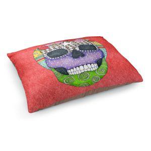 Decorative Dog Pet Beds | Marley Ungaro - Sugar Skull Watermelon | Sugar Skull Stylized Childlike Funky
