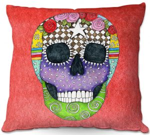 Decorative Outdoor Patio Pillow Cushion | Marley Ungaro - Sugar Skull Watermelon | Sugar Skull Stylized Childlike Funky