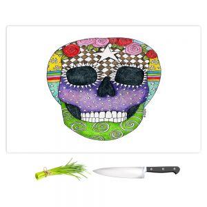 Artistic Kitchen Bar Cutting Boards   Marley Ungaro - Sugar Skull White   Sugar Skull Stylized Childlike Funky
