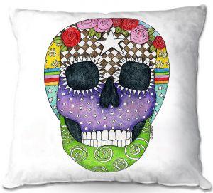 Decorative Outdoor Patio Pillow Cushion | Marley Ungaro - Sugar Skull White | Sugar Skull Stylized Childlike Funky