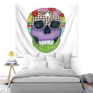 Artistic Wall Tapestry   Marley Ungaro - Sugar Skull White   Sugar Skull Stylized Childlike Funky
