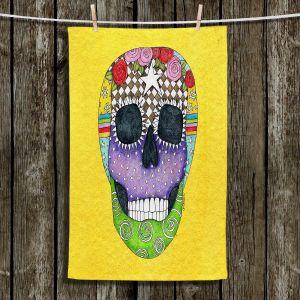 Unique Bathroom Towels   Marley Ungaro - Sugar Skull Yellow   Sugar Skull Stylized Childlike Funky