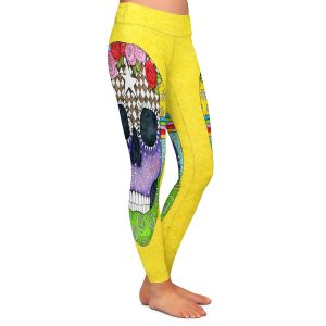 Casual Comfortable Leggings | Marley Ungaro - Sugar Skull Yellow | Sugar Skull Stylized Childlike Funky