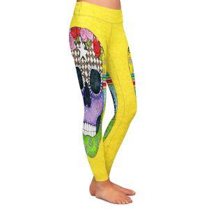 Casual Comfortable Leggings | Marley Ungaro - Sugar Skull Yellow | Sugar Skull Stylized Childlike Funky