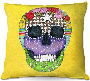 Unique Throw Pillows from DiaNoche Designs by Marley Ungaro - Sugar Skull Yellow | 16X16