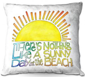 Decorative Outdoor Patio Pillow Cushion   Marley Ungaro - Sunny Day At Beach   Text typography words