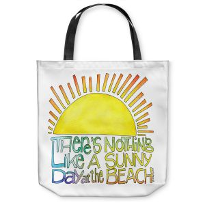 Unique Shoulder Bag Tote Bags | Marley Ungaro - Sunny Day At Beach | Text typography words