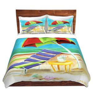 Artistic Duvet Covers and Shams Bedding | Marley Ungaro - Taking a Dip | beach Sun Ocean