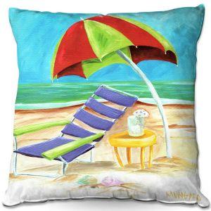 Decorative Outdoor Patio Pillow Cushion | Marley Ungaro - Taking a Dip | beach Sun Ocean