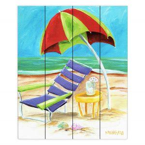 Decorative Wood Plank Wall Art | Marley Ungaro - Taking a Dip | beach Sun Ocean