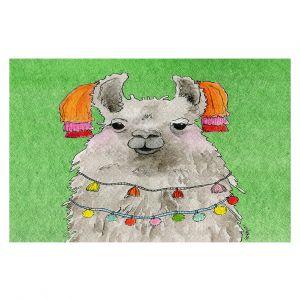 Decorative Floor Covering Mats | Marley Ungaro - Tassels Llama Green | watercolor animal
