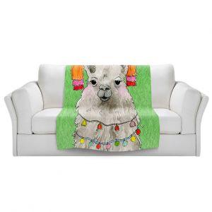 Artistic Sherpa Pile Blankets   Marley Ungaro - Tassels Llama Green   watercolor animal