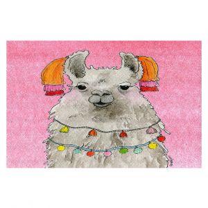 Decorative Floor Covering Mats   Marley Ungaro - Tassels Llama Lt Pink   watercolor animal