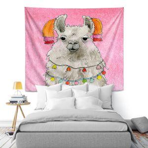 Artistic Wall Tapestry   Marley Ungaro - Tassels Llama Lt Pink   watercolor animal