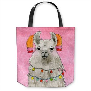 Unique Shoulder Bag Tote Bags | Marley Ungaro - Tassels Llama Lt Pink | watercolor animal