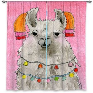 Decorative Window Treatments | Marley Ungaro - Tassels Llama Lt Pink | watercolor animal