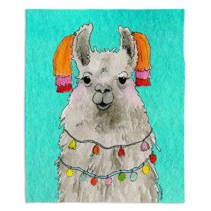 Artistic Sherpa Pile Blankets   Marley Ungaro - Tassels Llama Turquoise   watercolor animal