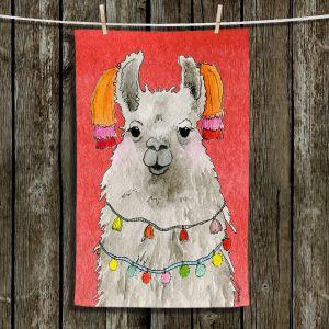 Unique Bathroom Towels | Marley Ungaro - Tassels Llama Watermelon | watercolor animal