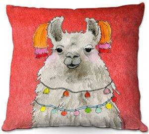 Decorative Outdoor Patio Pillow Cushion | Marley Ungaro - Tassels Llama Watermelon | watercolor animal