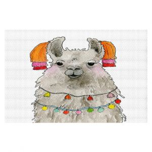 Decorative Floor Covering Mats | Marley Ungaro - Tassels Llama White | watercolor animal
