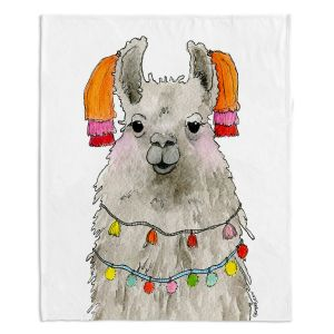 Artistic Sherpa Pile Blankets   Marley Ungaro - Tassels Llama White   watercolor animal