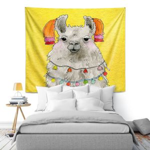 Artistic Wall Tapestry | Marley Ungaro - Tassels Llama Yellow | watercolor animal