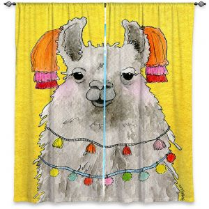 Decorative Window Treatments | Marley Ungaro - Tassels Llama Yellow | watercolor animal