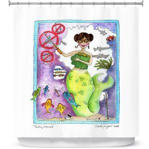 Premium Shower Curtains | Marley Ungaro Teaching Mermaid