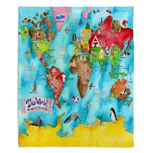 Decorative Fleece Throw Blankets | Marley Ungaro - This World Turquoise Map