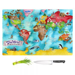 Artistic Kitchen Bar Cutting Boards | Marley Ungaro - This World Turquoise Map