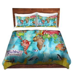 Artistic Duvet Covers and Shams Bedding   Marley Ungaro - This World Turquoise MAP