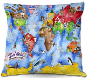 Throw Pillows Decorative Artistic | Marley Ungaro This World Royal Blue MAP