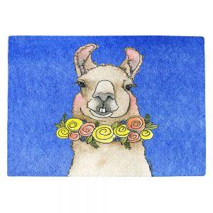 Countertop Place Mats | Marley Ungaro - Toothy Llama Blue | watercolor animal
