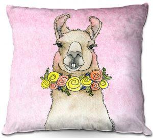 Throw Pillows Decorative Artistic | Marley Ungaro - Toothy Llama Pastel Pink | watercolor animal