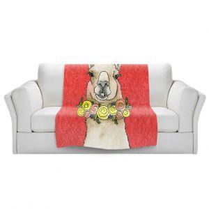 Artistic Sherpa Pile Blankets   Marley Ungaro - Toothy Llama Watermelon   watercolor animal