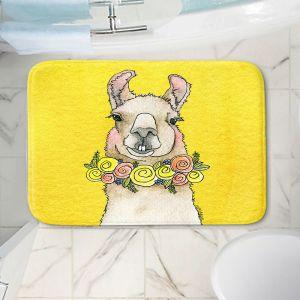 Decorative Bathroom Mats | Marley Ungaro - Toothy Llama Yellow | watercolor animal