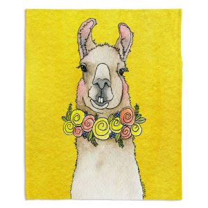 Decorative Fleece Throw Blankets | Marley Ungaro - Toothy Llama Yellow | watercolor animal