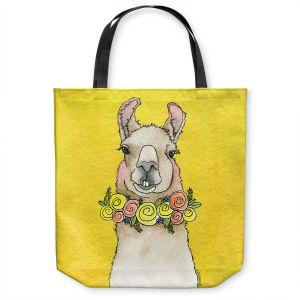 Unique Shoulder Bag Tote Bags | Marley Ungaro - Toothy Llama Yellow | watercolor animal