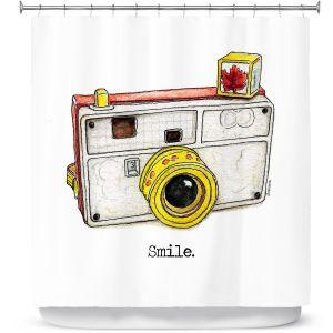 Premium Shower Curtains | Marley Ungaro - Toys Camera Smile | Childlike Toys Retro Fun Camera