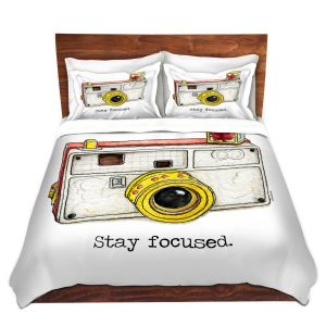 Artistic Duvet Covers and Shams Bedding | Marley Ungaro - Toys Camera Stay Focused | Childlike Toys Retro Fun Camera
