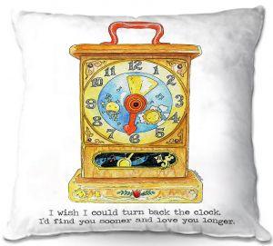 Decorative Outdoor Patio Pillow Cushion | Marley Ungaro - Toys Clock | Childlike Toys Retro Fun Clock