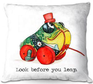 Decorative Outdoor Patio Pillow Cushion | Marley Ungaro - Toys Frog | Childlike Toys Retro Fun Frogs