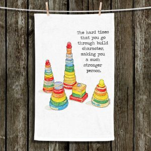 Unique Hanging Tea Towels | Marley Ungaro - Toys Stacking Rings Character | Childlike Toys Retro Fun Stacking Rings