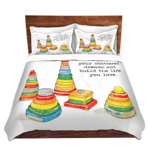 Artistic Duvet Covers and Shams Bedding | Marley Ungaro - Toys Stacking Rings Dreams | Childlike Toys Retro Fun Stacking Rings