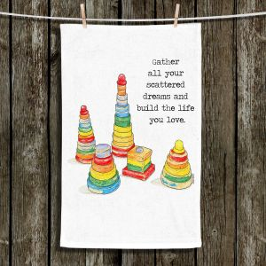 Unique Hanging Tea Towels | Marley Ungaro - Toys Stacking Rings Dreams | Childlike Toys Retro Fun Stacking Rings